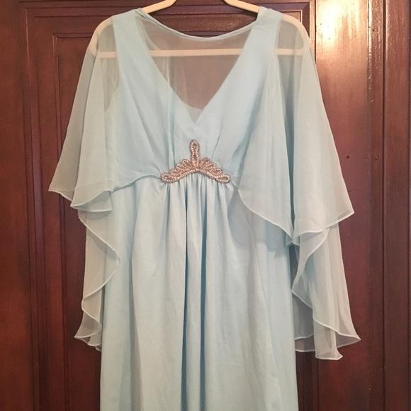 Vintage 60s Dolly Parton Blue Chiffon Dress